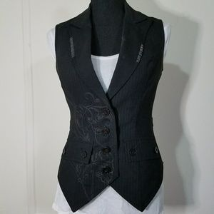 Pinstripe wool vest with embroidered stitching